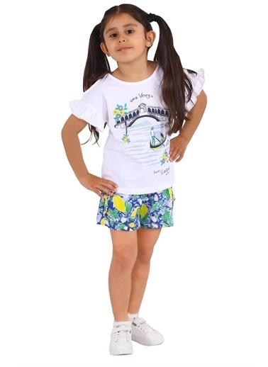 Silversun Kids Kız Çocuk Belden Lastikli Fırfır Detaylı Örme Şort Sc 217983 Saks